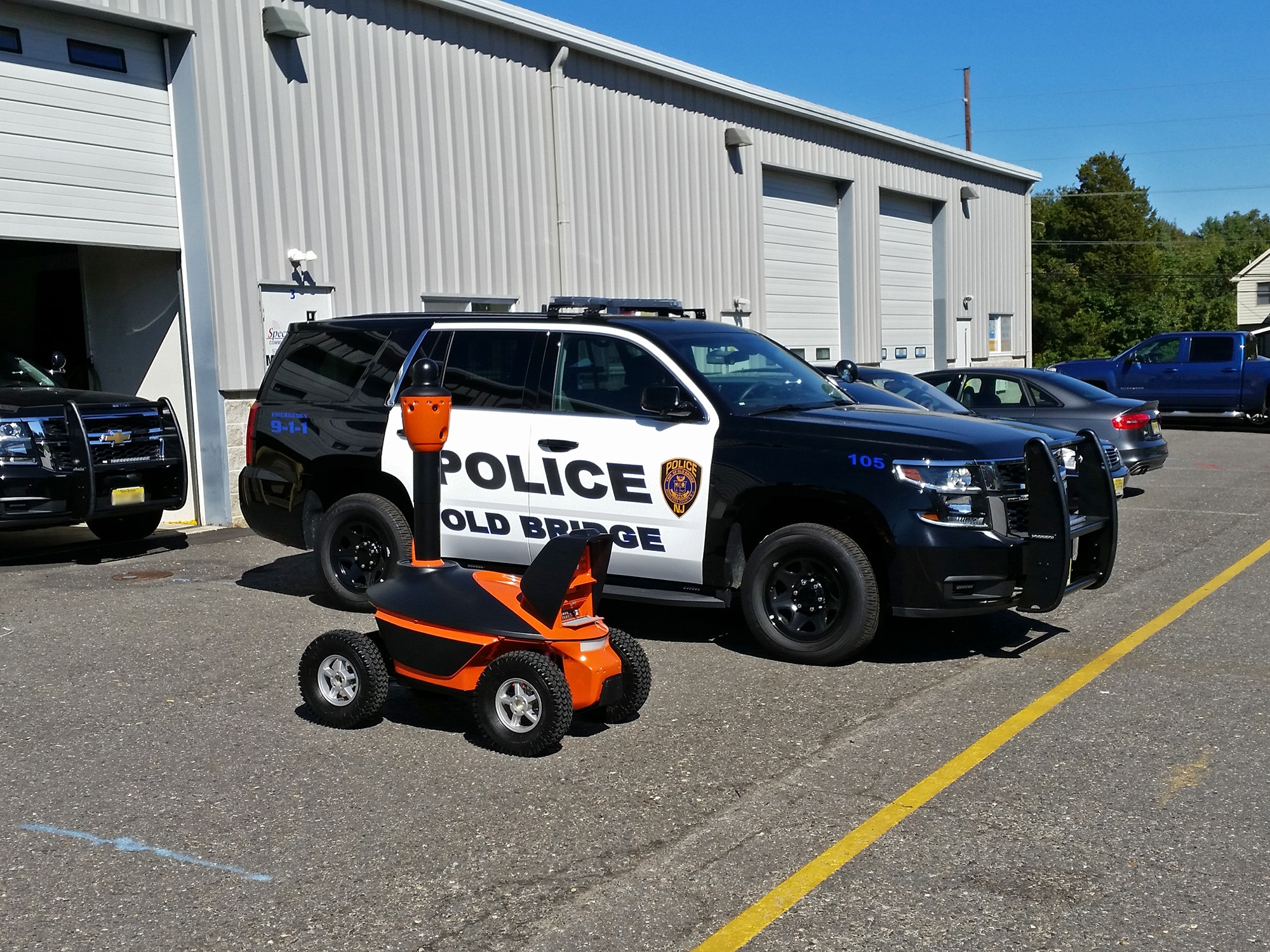 security robot with policecar