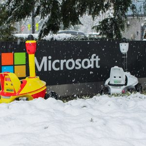 Security Robots near to the Microsoft Sign