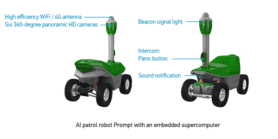 AI patrol robot Prompt with an embedded supercomputer