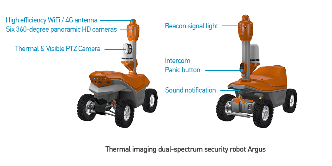 Thermal imaging dual-spectrum security robot Argus