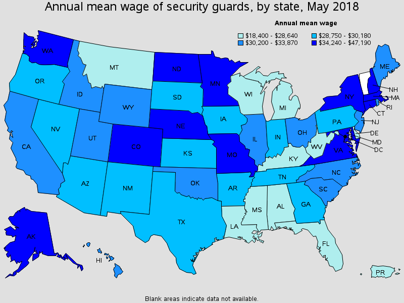 Annual mean wage of security guards