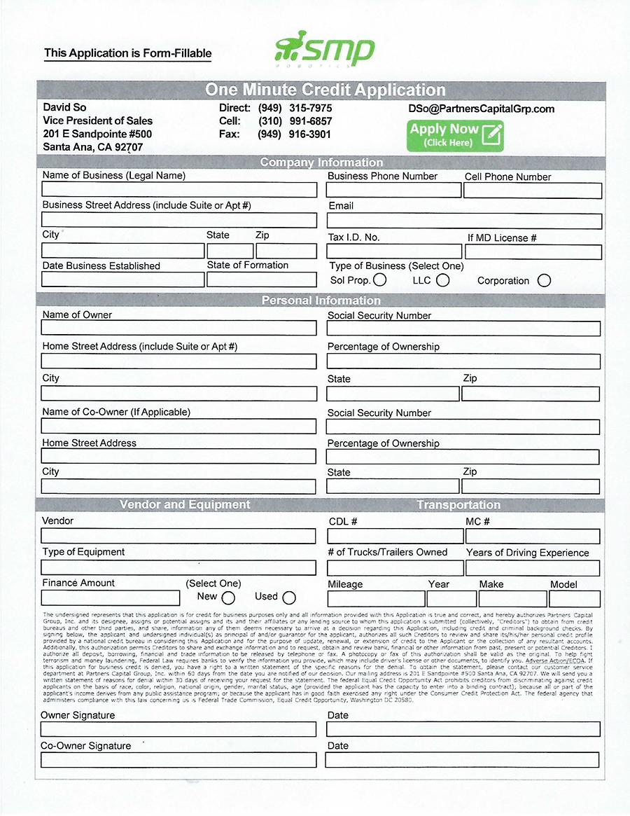 Partnes Capital Application Form