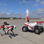 Meeting robots Boston Dynamics and SMP Robotics at airport, Germany